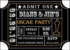 49 best oscar academy awards party invitations images on pinterest