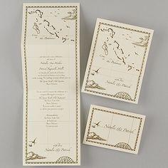 Bahamas Treasure Map Ecru Z-Fold - Invitation