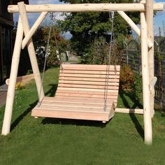 Garden swings roofed comfort wooden garden swing seat uk manufactured teak finish - Douglasie mobel ...