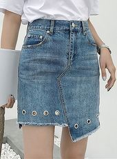 Sewing Skirts Jeans Diy Ideas New Ideas - Diy Crafts Long Denim Skirt Outfit, Denim Outfits, Denim Skirts, Denim Dresses, Jeans Dress, Casual Outfits, Fashion Dresses, Diy Jeans, Robes Pin Up