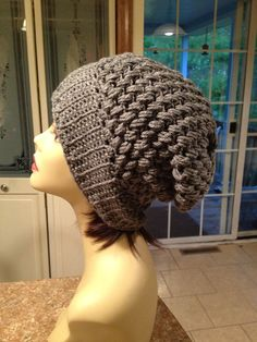 Slouchy Beanie, Slate Gray, Slouch hat on Etsy, $25.00