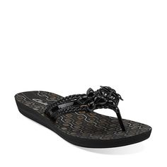 Clarks black sandals with flowers  Solar Sun in Black Synthetic - Womens Sandals from Clarks