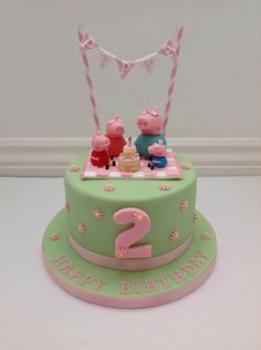 Creative Photo of Peppa Pig Birthday Cake . Peppa Pig Birthday Cake A Peppa Pig Picnic And Bunting Cake Fancy Fondant Party Ideas Tortas Peppa Pig, Bolo Da Peppa Pig, Cumple Peppa Pig, Peppa Pig Birthday Cake, Happy Birthday Cakes, Birthday Bunting, Peppa Pig Cakes, Girls 2nd Birthday Cake, Party Bunting