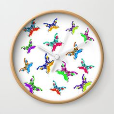 Multicolored Butterflies Wall Clock by wildseadesign Butterfly Wall, Wall Clocks, Natural Wood, Good Times, Cool Designs, Wall Decor, Hands, Artists, Traditional
