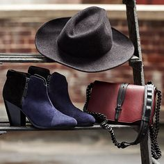 """@Rag_Bone has your fall #accessories covered.  #boots #hat #handbags"""