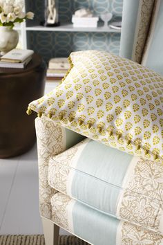 Robert Allen Botanical Color Collection: Robert Allen fabric, Belle Bloom in Sunray and trim, Modern Bead in Sunray is featured on the pillows. Robert Allen fabric Pelham House in Water is featured on the chair. http://www.robertallendesign.com/Collections/botanical-color-fabrics.aspx