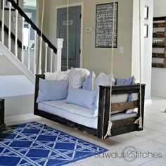 Recycle your old crib mattress and make a relaxing porch swing. Plans here available here.