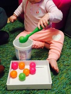Ping pong balls sorter, 20 activities for months old, 20 play ideas for toddlers, activities for one year old, montessori activities for a toddl… - Parenting Activities For One Year Olds, Toddler Learning Activities, Games For Toddlers, Montessori Activities, Infant Activities, Activities For Kids, Baby Activities 1 Year, Learning Games, Kids Learning