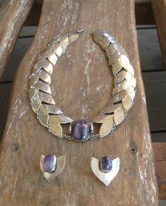 Necklace Earrings Silver Amethyst Chevron FRED DAVIS