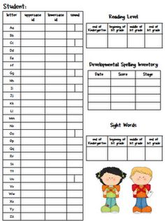 Data collection form for portfolios...what letters can the child recognize, reading level, and sight words known.