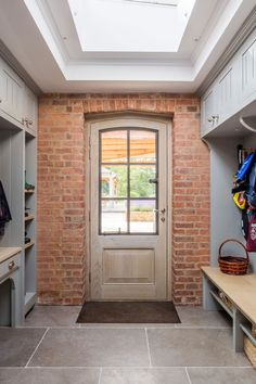 Bespoke boot room, with space for all shoes and pet storage. Situated in beautiful american style property. Grey Furniture, Furniture Design, Laurel House, Recycled Kitchen, Modern Country, Next At Home, Cottage Homes, Building A House, Building Ideas