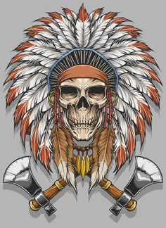 the second artwork of Indian Skull Native Art, Native American Art, Biomech Tattoo, Indian Skull Tattoos, Tatoo Art, Kunst Tattoos, American Tattoos, Desenho Tattoo, Skull And Bones