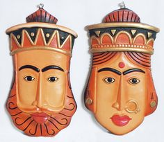 Masks of King and Queen - Terracotta Wall Hanging, India