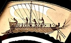 painting of greek ship with sails