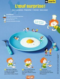 L'œuf surprise : une recette facile pour les enfants avec du fromage blanc et des abricots (extrait du magazine Astrapi, pour les enfants de 7 à 11 ans, n°857) French Class, April Fools Day, Food Illustrations, Print Ads, Book Design, Easy Meals, Teaching, Fruit, Cooking