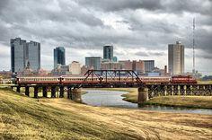 Grapevine Vintage Railroad Tarantula Train Bridge Fort Worth Texas Skyline Skyscrapers Trinity River Locomotive Steam Diesel
