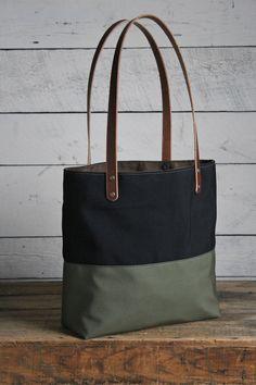 WWII era Color Blocked Canvas Tote Bag