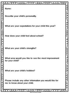 Back To School - Parent Letter and Survey