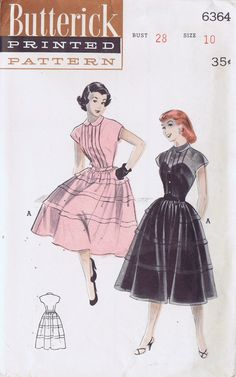 Butterick 6364: Isn't this pattern just darling?!  I especially love the sheer version with sweetheart neck underneath.