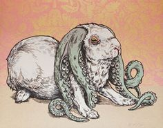 illustration and design work of Phineas X. Indie Art, Art And Illustration, Cthulhu, Bizarre, Kids Poster, Arte Horror, Cute Bunny, Bunny Art, Animais