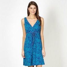 Mantaray Turquoise leaf V neck dress- at Debenhams.com