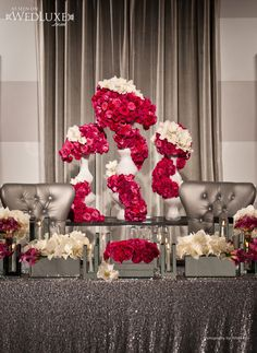 Style File: Mr & Mrs Smith | WedLuxe Magazine    Produced by Platinum Events Group, Krista Fox Photography. Floral & Decor by Fuscia Designs, Table Linens by Linen Closet, Stationery by Palettera, Location The Carlu.