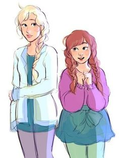 Elsa and Anna by Bev Johnson