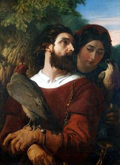The Falconer by Daniel Maclise, [1853]. Crawford Gallery, Public Domain