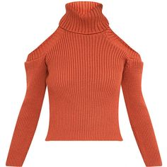 Piper Coral Cut Out Shoulder Jumper ❤ liked on Polyvore featuring tops, sweaters, cut out shoulder sweater, cut-out shoulder tops, jumper top, red jumper and cold shoulder sweater