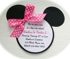 Lisa Leach did you make these for Julia's party? Didn't you say you were doing Mickey and Minnie! Minnie Mouse 1st Birthday, Minnie Mouse Theme, Minnie Mouse Baby Shower, Minnie Mouse Birthday Invitations, Party Invitations Kids, Shower Invitations, 3rd Birthday Parties, Birthday Stuff, 2nd Birthday