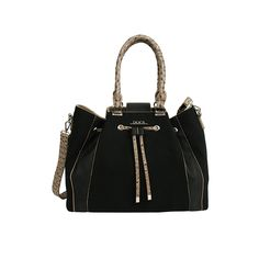 cb8c55f45fc Black handbag for women from the Doca Spring-Summer 16 collection. The bag  has embossed brown details and two decorative front pleats.
