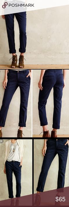 NWOT Pilcro Hyphen Pinstripe Chino A flattering pair of chino... pinstripes and on trend. This pair of pants has never been worn. Perfect condition. It's such a cool piece to have for either dressing up or for your casual days. Anthropologie Pants Ankle & Cropped