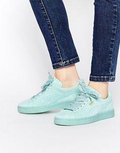 Мятные замшевые классические кроссовки Puma