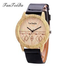 FanTeeDa Luxury Brand Top Wood Women Watches Fashion Casual Wood Leather Strap Business Vintage Ladies Quartz Wrist Watch  #Affiliate