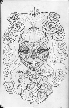 printable Day of the Dead Skulls Coloring Pages   Leigh Young Illustration: Sugar Skulls
