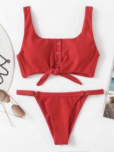 Shop Knot Front Low Back Bikini Set online. SheIn offers Knot Front Low Back Bikini Set & more to fit your fashionable needs.