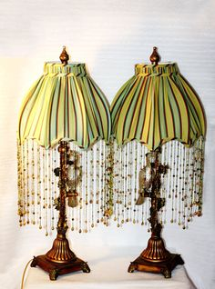 Vintage Buffet Table Lamps Parrots Adorn the by QUEENIESECLECTIC
