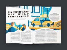 I was commisioned by Strichpunkt Design to create some editorial illustrations for an article about MOIA ride pooling in the Journal der Autostadt wich is a company of the Volkswagen AG. Editorial Design Layouts, Magazine Layout Design, Book Design Layout, Print Layout, Magazine Layouts, Editorial Design Magazine, Brochure Layout, Brochure Design, Logo Design