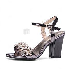 Mujer Zapatos PU Verano   Otoño Zapatos del club Sandalias Tacón Cuadrado  Dedo redondo Pedrería   Hebilla Negro   Plata   Rosa   Boda d220512d1ead1