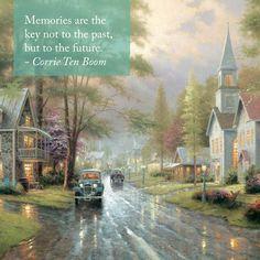 "Inspiration for this Sunday. ""Share the Light"" ""Hometown Evening"" - Thomas Kinkade - 1996"
