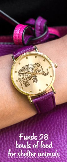 Add a splash of safari sophistication to your wrist with this elaborate elephant enveloped in gold-tones. With an adjustable faux leather band that brings visions of spice, this delightful watch is nothing but nice.