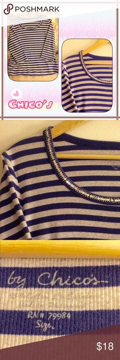 Chico's Stripped 3/4Sleeve Top Stripes are BIG this season. Comfy cotton 3/4 sleeve tee shirt. Chico's Size 2 (12/14). Chico's Tops Tees - Long Sleeve