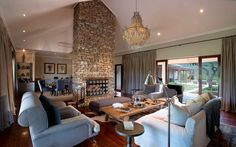 Kwandwe Private Game Reserve is a ha wilderness in the Eastern Cape. Approximately 65 km from the coast, located. Game Lodge, Private Games, Desert Homes, Game Reserve, Beautiful Hotels, Home Remodeling, Lounge, Living Room, Architecture