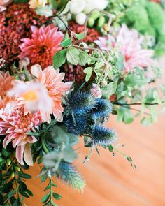Blue thistle and cafe au lait  dahlias! Photo by Diana Marie photography