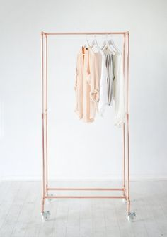 Hotel Porter Style Copper Pipe Clothing Rail / Garment Rack / Clothes Storage on Wheels