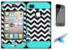 Bumper Case for Apple iphone 4 4G 4S Dark Blue Chevron Waves Pattern Hard Plastic Snap on over Baby Teal Silicone Gel(Wireless fones Wristband,Screenprotector,and Media Display Kickstand included) Rocker,http://www.amazon.com/dp/B00F74QZUS/ref=cm_sw_r_pi_dp_ofVktb1TDQB35DH2