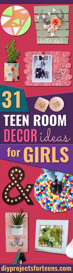 31 DIY Teen Room Decor Ideas for Girls - Creative Ideas for Teens, Tweens and Teenagers Rooms -Cool Bedroom Decor, Wall Art & Signs, Crafts, Bedding, Fun Do It Yourself Projects and Room Ideas for Small Spaces http://diyprojectsforteens.com/diy-teen-bedroom-ideas-girls-rooms