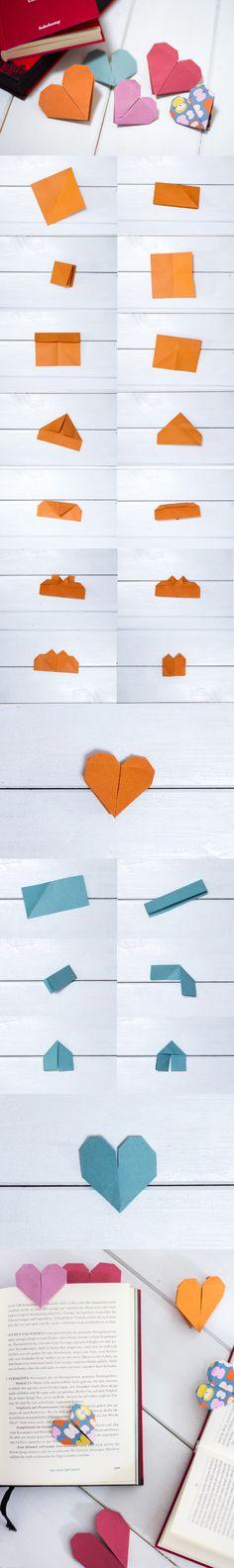 DIY Herzen Origami - Lesezeichen leicht selber falten. Zwei Varianten findest du hier.