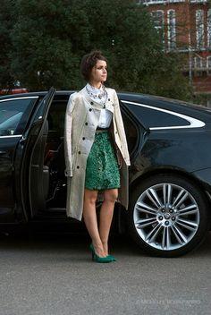 London Fashion Week Street Style AW 2013/14 - Coat by Burberry Prorsum