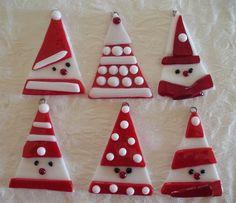 Fused glass Santa Christmas ornaments.